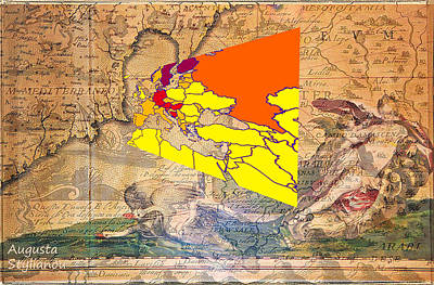 Digital Art - World Map And Ancient Cyprus by Augusta Stylianou
