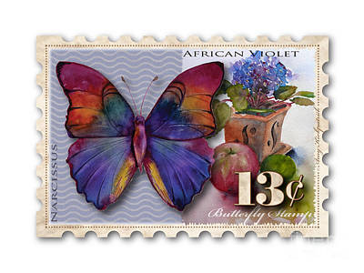 Apple Watercolor Painting - 13 Cent Butterfly Stamp by Amy Kirkpatrick