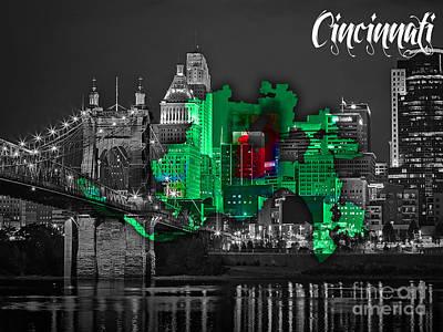 Cincinnati Map And Skyline Watercolor Art Print