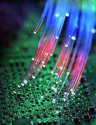 Computer Circuit Board Photograph - Fibre Optics by Tek Image