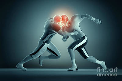 Football Collision Print by Science Picture Co