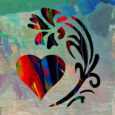 Heart And Flowers Art Print