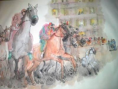 Italian Il Palio Horse Race Album Art Print