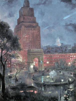 Photograph - Wet Night Washington Square by John Sloan