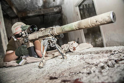 Photograph - Navy Seal Sniper With Rifle In Action by Oleg Zabielin