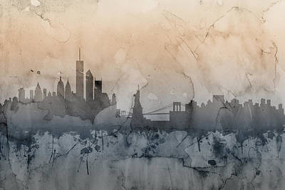 Apple Digital Art - New York Skyline by Michael Tompsett