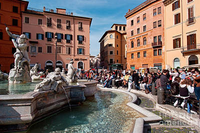 Sunny Photograph - Piazza Navona In Rome by George Atsametakis