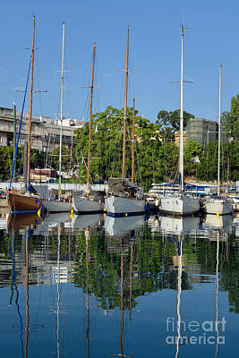 Summertime Photograph - Reflections In Mikrolimano Port by George Atsametakis