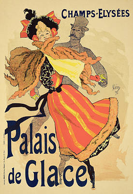 Skating Drawing - Reproduction Of A Poster Advertising by Jules Cheret