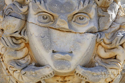 Gorgon Photograph - Sculpted Medusa Head At The Forum Of Severus At Leptis Magna In Libya by Robert Preston