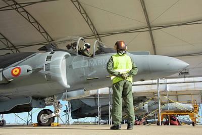 Rota Photograph - Spanish Navy Av-8b Harrier At Rota by Giovanni Colla
