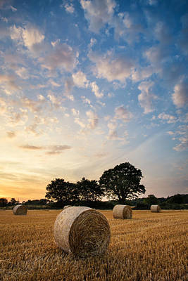 Stunning Summer Landscape Of Hay Bales In Field At Sunset Art Print by Matthew Gibson
