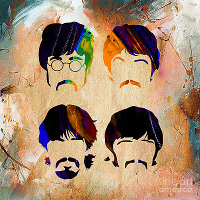 George Mixed Media - The Beatles Collection by Marvin Blaine