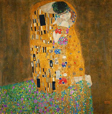Klimt Painting - The Kiss by Gustav Klimt