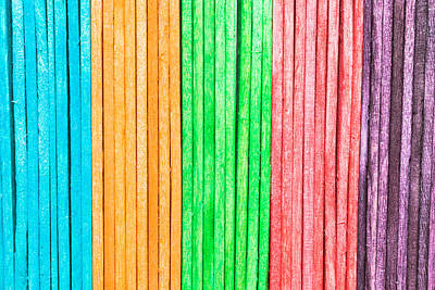 Multi Colored Photograph - Wooden Background by Tom Gowanlock