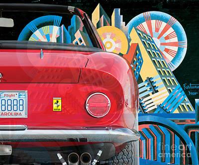 Digital Art - 130903 Bluechip Ferrari 275 Gtb4 Spyder Rossa Depero Tribute by BlueChip Luigi Gallone