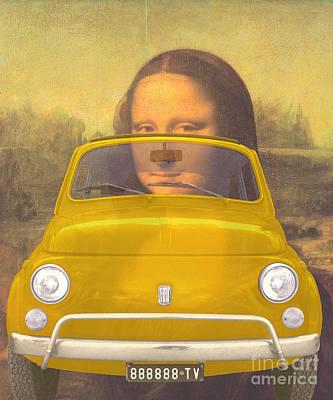 Classic Fiat Digital Art - 131030 Bluechip Fiat 500 Gialla Leonardo Tribute by BlueChip Luigi Gallone