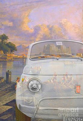 Classic Fiat Digital Art - 131101 Bluechip Fiat 500 Bianca Neaples Tribute by BlueChip Luigi Gallone