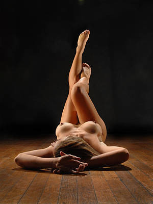 Photograph - 1312 Nude Woman On Hardwood Floor  by Chris Maher