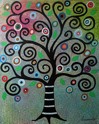 Mexican Art Painting - Tree Of Life by Pristine Cartera Turkus