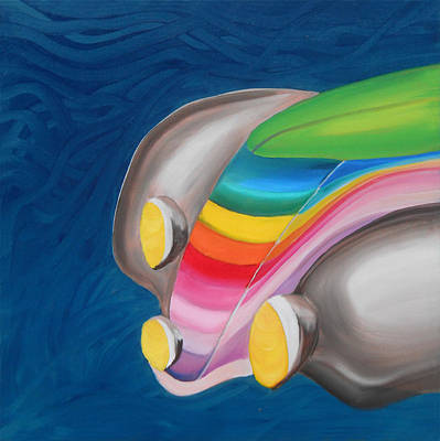 Fiat Car Painting - 137   'rainbow Fiat' by Gregory Otvos