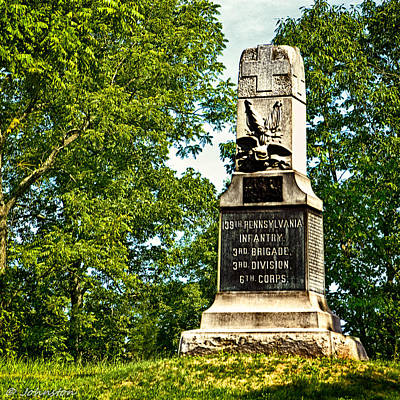 Photograph - 139th Pennsylvania Infantry Memorial Gettysburg Battleground by Bob and Nadine Johnston