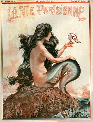 Mermaid Drawing - 1920s France La Vie Parisienne Magazine by The Advertising Archives
