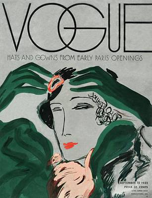 Hand On Head Photograph - A Vintage Vogue Magazine Cover Of A Woman by Eduardo Garcia Benito