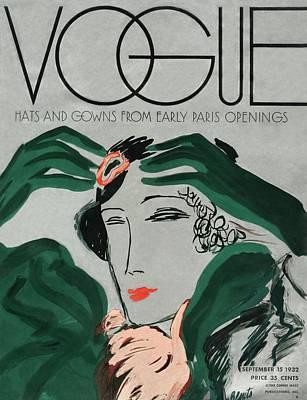 A Vintage Vogue Magazine Cover Of A Woman Art Print by Eduardo Garcia Benito