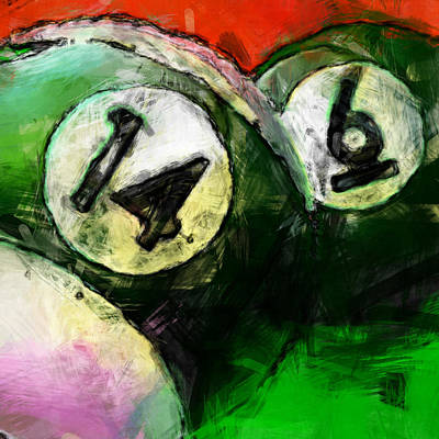 14 And 6 Billiards Abstract Art Print by David G Paul