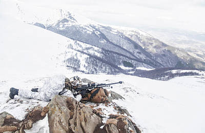 Photograph - Army Soldier With Sniper Rifle by Oleg Zabielin