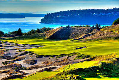 Sports Royalty-Free and Rights-Managed Images - #14 at Chambers Bay Golf Course - Location of the 2015 U.S. Open Tournament by David Patterson