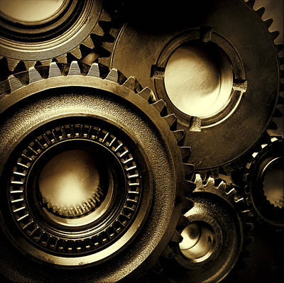 Brown Tones Photograph - Cogs by Les Cunliffe