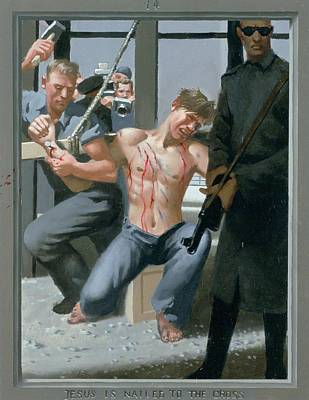 14. Jesus Is Nailed To The Cross / From The Passion Of Christ - A Gay Vision Art Print by Douglas Blanchard