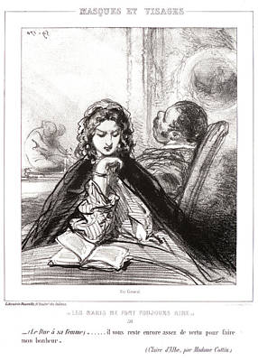 Visage Drawing - Paul Gavarni Aka Hippolyte-guillaume-sulpice Chevalier by Litz Collection