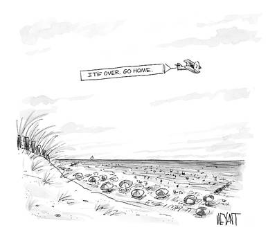 Airplane Drawing - New Yorker September 12th, 2005 by Christopher Weyant