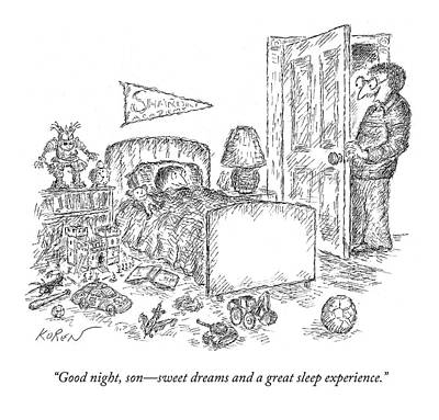 Sleeping Drawing - Good Night, Son - Sweet Dreams And A Great Sleep by Edward Koren