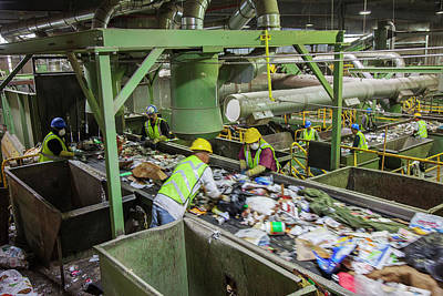 Waste Sorting At A Recycling Centre Print by Peter Menzel
