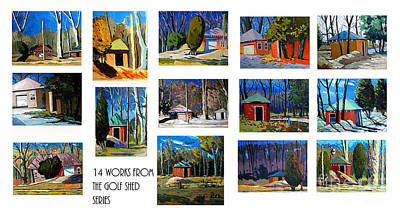 14 Works From The Golf Shed Series Art Print by Charlie Spear