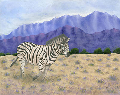 South Africa Zebra Painting - 140401 Zebra South Africa by Margaret Pegi Price