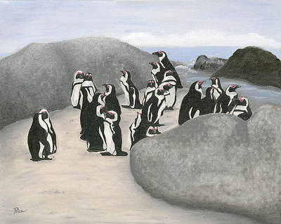 Jackass Painting - 140402 Penguins South Africa by Margaret Pegi Price