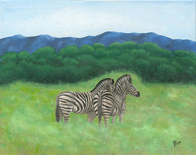 South Africa Zebra Painting - 140502 Two Zebras South Africa by Margaret Pegi Price
