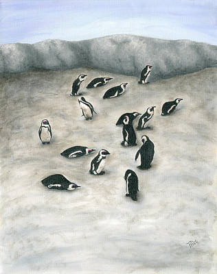 Jackass Painting - 140504 Penguins South Africa by Margaret Pegi Price