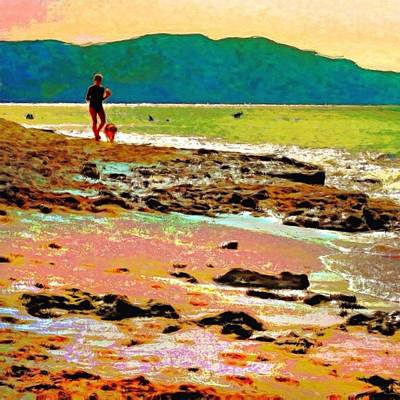 Painting - Beach Walk At Cane Bay - Square by Lyn Voytershark