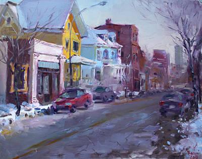 Winter Scene Painting - 149 Elmwood Ave Savoy by Ylli Haruni