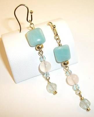 14k Jewelry - 14k Gf Amazonite Rose Quartz Aquamarine Earrings by Ann Mooney