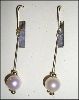 14k Jewelry - 14k Gold Pearl Earrings by Ann Mooney
