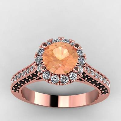 18k Jewelry - 14k Rose Gold Black And White Diamond Ring With Morganite Center Stone by Eternity Collection