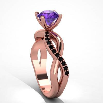 18k Jewelry - 14k Rose Gold Black Diamond Ring With Amethyst Center Stone by Eternity Collection