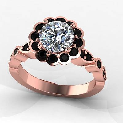 18k Jewelry - 14k Rose Gold Black Diamond Ring With Moissanite Center Stone by Eternity Collection
